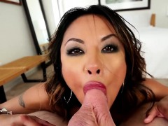 Asian ho pov ball sucking
