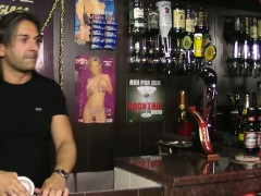 Huge barmaid riding cock at...
